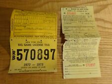 1972 New York Citizen Resident Big Game Hunting License Back Tag Rb-570897