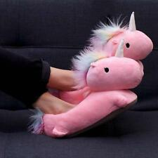 Smoko Cute Kawaii Chibi Fun Plush Unicorn Fantasy USB Heated Adult Slippers-Pink