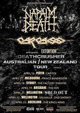 "Napalm Death/Carcass ""Australian/New Zealand Tour"" 2015 Concert Poster-Grindcore"