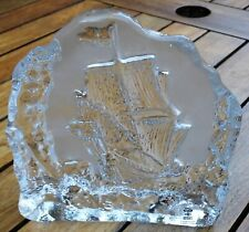 SKRUF Sweden Paperweight Crystal Glass Sailing Ship Handcrafted