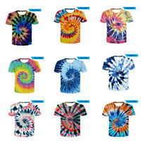 Tye Dyed Tee Tie Dye Mens T-Shirt Blank Spiral Colors NEW Casual Tops Plus Size