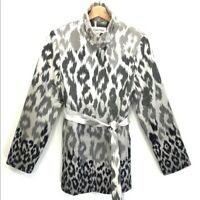 CALVIN KLEIN Gray Ombre Leopard Trench Coat Women's SMALL EUC