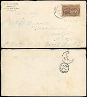 JAN 31, 1893 NORFOLK VA CDS, Foreign Destination to NORTH WALES, Columbian #234!