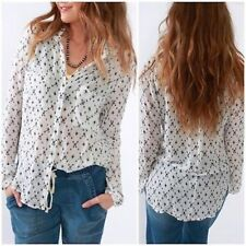 Bella Dahl Hipster Shirt  white black stars button down Shirt Size M New