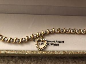 Brass Diamond Accent Heart Bracelet 18K Gold Plated Genuine Diamond New W Box