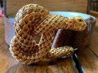 Kenneth Jay Lane Brown Genuine Snake Skin Belt with Rattlesnake Buckle - Large