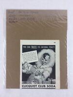 Clicquot Club Soda Natural Vintage Print Collectible Advertisement 5.5 x 6.75