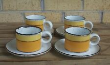 Mid-Century Modern Stonehenge Midwinter Sun Set of 4 Flat Cups and Saucers