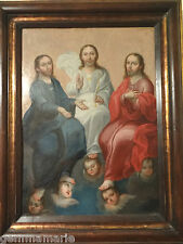 Mexican Spanish Rare Antique Colonial Oil on Copper Retablo Icon of Trinity 17th