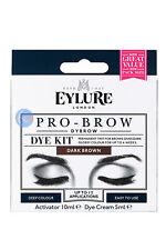 EYLURE PRO-BROW DYBROW DARK BROWN COLOUR TINT EYEBROW DYE KIT MASCARA.
