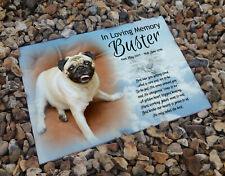 Personalised headstone memorial plaque, grave marker, ceramic tile, Pug dog
