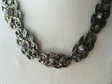 """VINTAGE ProSA MEXICO STERLING SILVER & AMETHYST NECKLACE 55.7 GRAMS  15 1/4"""""""