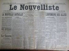 WW1 OFFENSIVE ALLIES CHRONIQUE REGIONALE LE NOUVELLISTE DE LYON 17/9/1914