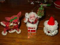 (3) Vintage FINISHED Walco Christmas Ornaments - REINDEER & SANTA CHIMNEY & SNO