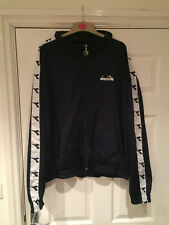 Navy Blue 80's Vintage Style Diadora Zip Up Jacket Top Size XL