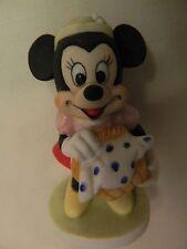 Vintage Disney Minnie Mouse With Picnic Basket Figurine - Euc