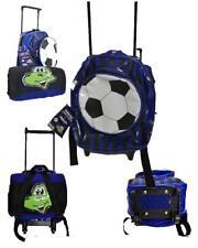 Zainetto asilo mini trolley con maniglia + plaid pile nero azzurro *17203