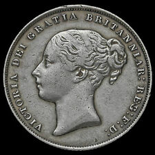1853 Queen Victoria Young Head Silver Shilling, Scarce #2