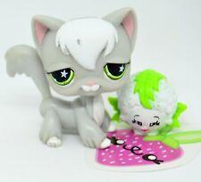Littlest Pet Shop 954 Grey & White Angora Persian Cat Kitty Green Star Eyes