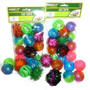 100 Pet Cat Kitten toys Play Balls jingle bell mylar glitter pom poms US SELLER