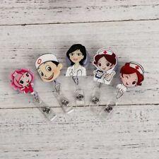 1PCS Cute Cartoon Nurse Retractable Reel ID Badge Holder Clip Student Nurse