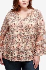 Lucky Brand Trendy Plus Size Bell-Sleeve Peasant Top. Size 3X.
