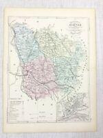 1881 Antico Francese Mappa Nievre Francia Raro Vecchio Mano Colorato Incisione
