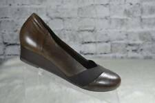 Earth Shoes Elderberry Bark Brown Leather Wedge Slip On Shoes 9.5 EUC