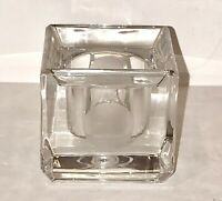 STUNNING VERA WANG WEDGWOOD CRYSTAL FROSTED DOTS SQUARE VOTIVE CANDLE HOLDER