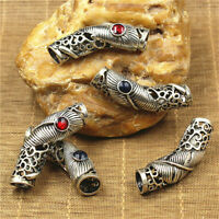 5Pcs Ethnic Style Alloy Tibetan Silver Jewelry Bend Tube Cover Strand DIY Charm