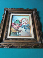 "WILLIAM MONINET ""TWO CLOWNS"" OIL ON CANVAS PAINTING professionally FRAMED ART"
