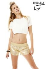 UNIQUELY LORNA JANE Natural Light Gold Metallic S/Slv Crop Top, Size M NWT $50