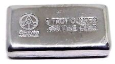 5 Troy Ounce .999 Fine Lead Bullion Bar - Hand Poured & Stamped - Grimm Metals