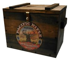 Vintage Style Wooden Ammo Box - Cartridge Accessories Storage Crate - Powder Ad