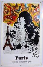 SALVADOR DALI – PARIS – CHEMINS DE FER FRANÇAIS – AFFICHE ORIGINALE - 1970