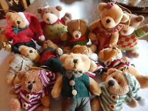 "Twelve (12)   plush  - 2.875"" - 4"" - Outfitted Teddy Bear - Christmas  ORNAMENTS"