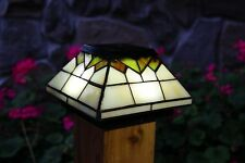 2 PACK WELLINGTON SOLAR POST CAP LED DECK FENCE LIGHTS STAINED GLASS 5X5 & 4X4
