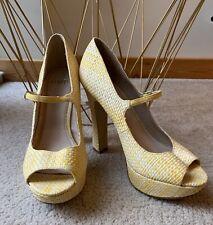 Tejido con textura Fe Amarillo De Plataforma Tacones Altos Reino Unido 6 Nuevo