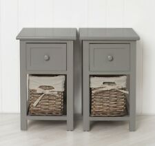 Pair of Shabby Chic Grey Bedside Units Tables Drawers with Wicker Storage