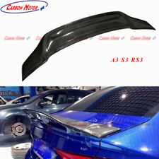 For 2014+ Audi A3 8V S3 RS3 R Style Carbon Fiber Rear Spoiler Back Trunk Lid Lip