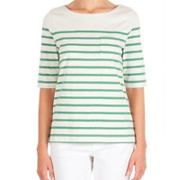 Country Road Green Cream Striped Top Size XS 100% Cotton Tee