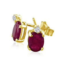 14K YELLOW GOLD 2.0CT GENUINE OVAL RUBY AND DIAMOND STUD EARRINGS
