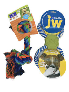 Pet Dog Tough Tug of War Rope Toy w/ Ring & Giggle Tug- Giggles When Shaked NWT
