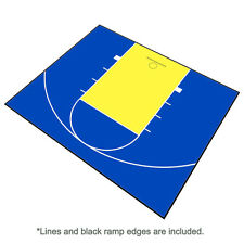 30ft x 25ft Outdoor Basketball Half Court Kit-Lines and Edges Includ-Blue/Yellow