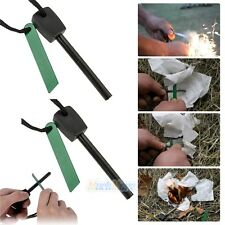 2x Survival Magnesium Flint Stone Fire Starter Emergency Lighter Kit For Camping