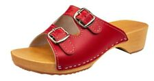 Womens Sandals Natural Leather Slip On Wood Beach Clogs Size 3 - 8 Slippers Red