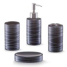 Zeller 18252 Set 4 Accessori da bagno in ceramica colore Nero
