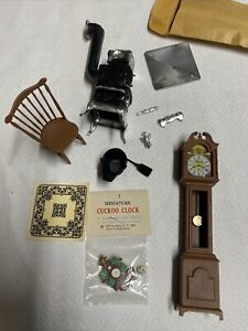 DOLLHOUSE FURNITURE MINIATURE LOT Cuckoo Grandfather Clock Pot Belly Stove etc