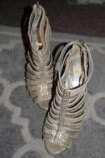 RIVER ISLAND Beige Gladiator Strap Heels Snake Pink Cream Wood Peep Toe 3 Silver