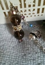Smoky Topaz Quartz Tiny Crystals Little Beaded Pendulum Metaphysical Dowsing